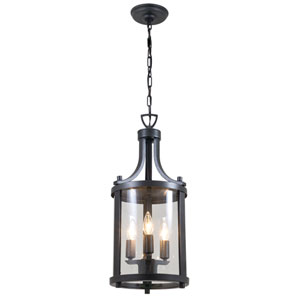 Niagara Outdoor Hammered Black Three-Light Outdoor Hanging Lantern