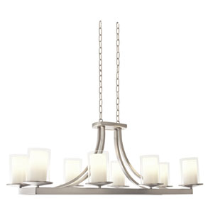 Essex Buffed Nickel Eight-Light Linear Chandelier
