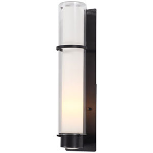 Essex Hammered Black 20-Inch One-Light Outdoor Sconce with Half Opal Glass