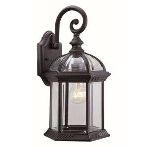 Hexagon Black 15.5-Inch One-Light Outdoor Wall Sconce