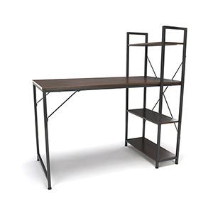 Walnut Combination Desk 4 Shelf Unit