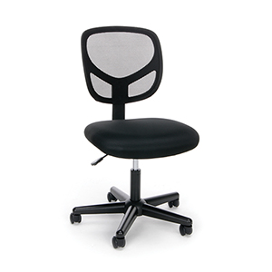 Black Swivel Mesh Armless Task Chair
