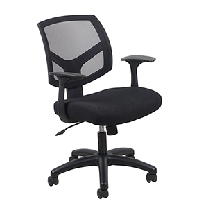 Black Swivel Mesh Task Chair with Arms