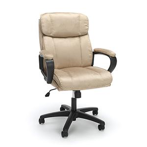 Tan Plush Microfiber Office Chair