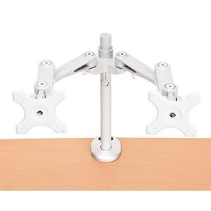 Silver Dual Monitor Desk Mount Arm (Bolt Attachment)