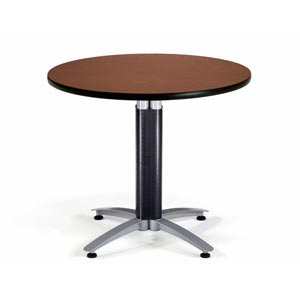 36-Inch Multi-Purpose Round Mahogany Table with Metal Base