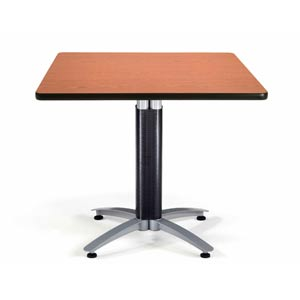 36-Inch Square Multi-Purpose Cherry Table with Metal Base
