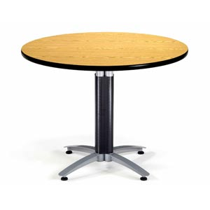42-Inch Multi-Purpose Round Oak Table with Metal Base