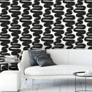 Bobby Berk White and Black Wiggle Room Peel and Stick Wallpaper