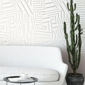 Bobby Berk White and Metallic Silver Dazzle Peel and Stick Wallpaper