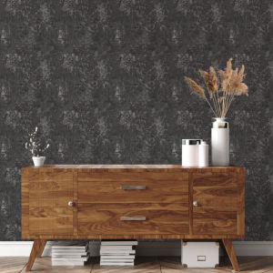 Distressed Gold Leaf Gunmetal Peel and Stick Wallpaper