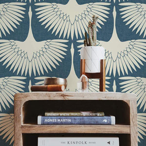 Feather Flock Denim Blue 28 Sq. Ft. Peel and Stick Wallpaper