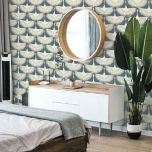 Feather Flock Denim Blue 56 Sq. Ft. Peel and Stick Wallpaper