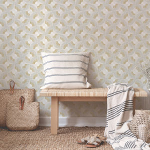 Grasscloth Gold Fans Canary Peel and Stick Wallpaper