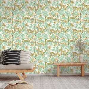 Leopards Lime Peel and Stick Wallpaper