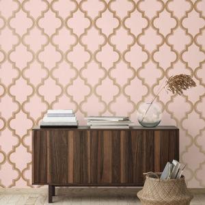 Marrakesh Pink and Metallic Gold Peel and Stick Wallpaper