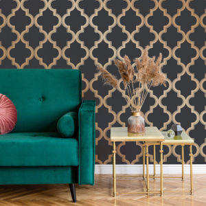 Marrakesh Midnight and Metallic Gold Peel and Stick Wallpaper