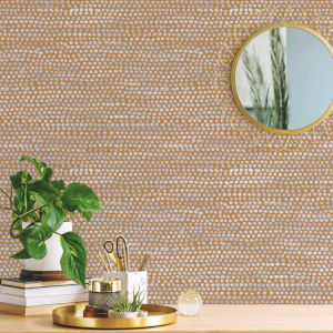 Moire Dots Toasted Turmeric Peel and Stick Wallpaper