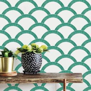Mosaic Scallop Emerald 28 Sq. Ft. Peel and Stick Wallpaper