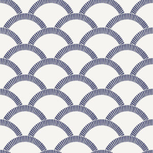 Mosaic Scallop Navy and Parchment 56 Sq. Ft. Peel and Stick Wallpaper