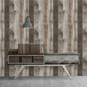 Repurposed Wood Multi-Color 16.5 Ft. L x 20.5 In. W Removable Wallpaper