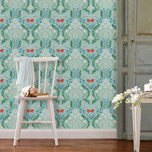 Scandi Floral Teal Peel and Stick Wallpaper