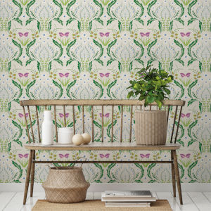Scandi Green Floral Botanical Peel and Stick Wallpaper