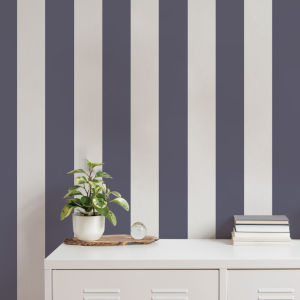 Stripe Navy and Light Grey Peel and Stick Wallpaper