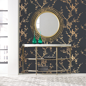 Bird Watching  Black and Gold Removable Wallpaper