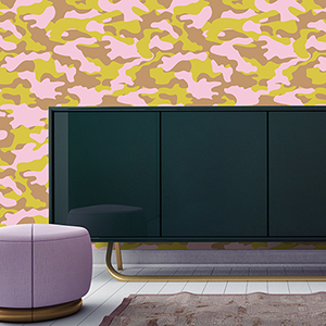 Glammo Pink, Lemon and Gold Removable Wallpaper
