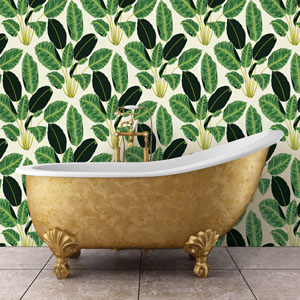 Genevieve Gorder Hojas Cubanas Rich Emerald Removable Wallpaper