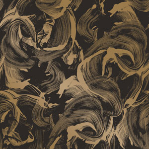 L Amour Matte Black and Gold Removable Wallpaper