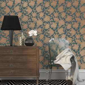 Silhouette Peacock Blue and Gold Removable Wallpaper