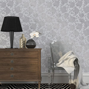 Silhouette Metallic Silver Removable Wallpaper