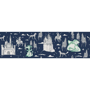 Medieval Toile Navy and Green Removable Wallpaper