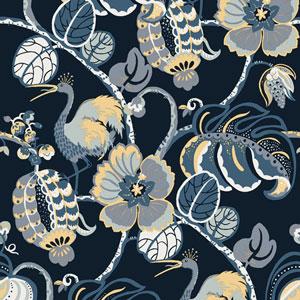 Genevieve Gorder Tropical Fete Azure Blue Removable Wallpaper