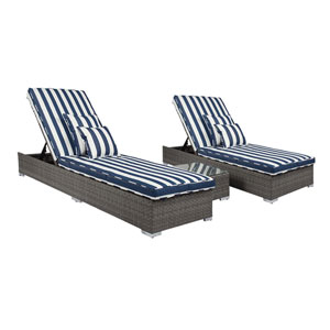 Lantis Gray and Navy White Stripe 3 Piece Outdoor Lounge Set