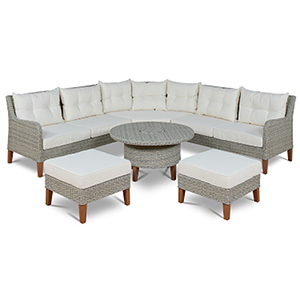 Grey and Beige 4 Piece Chaise Lounge Set