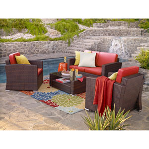 Bahia Dark Brown and Orange 4 Piece Outdoor Wicker Set