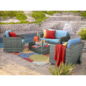 Bahia Grey and Light Blue 4 Piece Outdoor Wicker Set