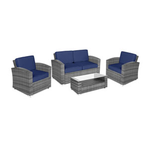 Bahia Grey and Navy 4 Piece Outdoor Wicker Set