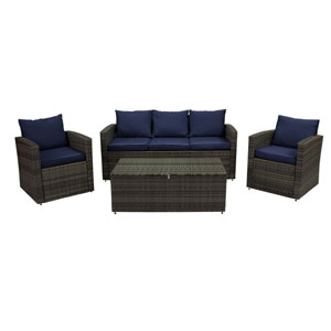 Grey and Navy 4 Piece Outdoor Wicker Set with Storage