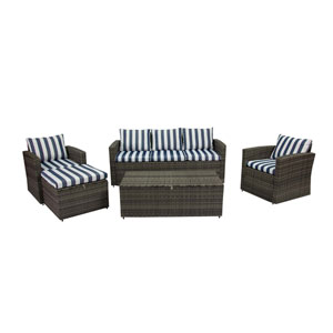 Rio Dark Grey and Blue White Stripe 5 Piece Outdoor Set with Storage and Ottoman