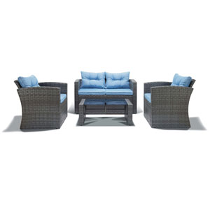 Roatan Grey and Light Blue 4 Piece Outdoor Wicker Set