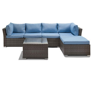 Jicaro Grey and Light Blue 5 Piece Outdoor Wicker Sectional Sofa Set