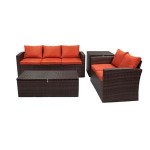 Rio Dark Brown and Orange 4 Piece Outdoor Set  with Storage