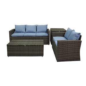 Rio Grey and Blue 4 Piece Outdoor Set with Storage