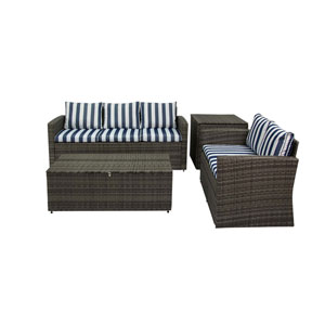 Rio Grey and Blue White Stripe 4 Piece Outdoor Set with Storage
