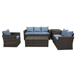 Rio Grey and Blue 5 Outdoor Set with Storage