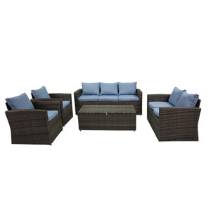 Rio Grey and Blue 5 Piece Outdoor Set